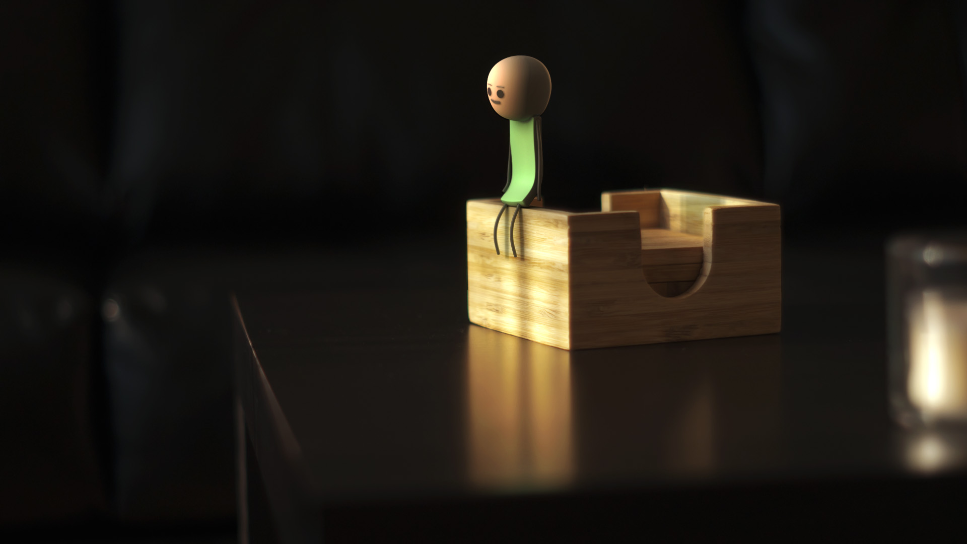 A 3D character from Cyanide and Happiness composited onto a photo