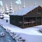 3D Snowy Woodlands Cabin