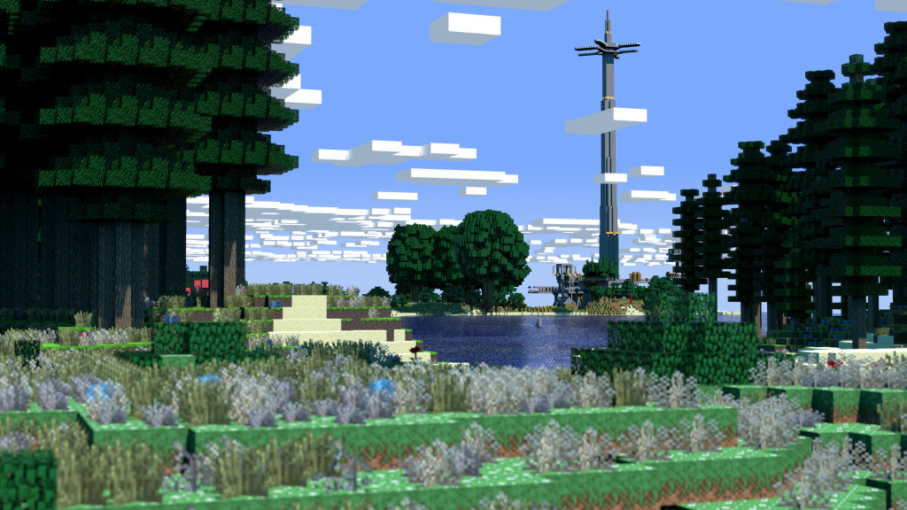 Minecraft Tower 3D Render Wallpaper